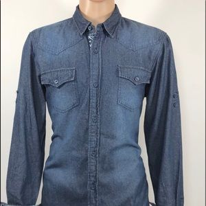 I JEANS BY BUFFALO Sz L/G Men's Shirt Denim Regula